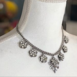 Vintage silver necklace with rhinestones